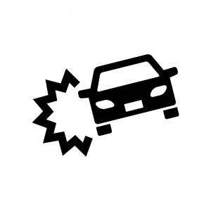 車の事故の白黒シルエットイラスト02