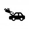 車のオイル交換の白黒シルエットイラスト