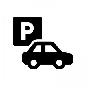 駐車場・パーキングの白黒シルエットイラスト02