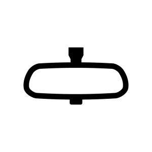 車のルームミラー(バックミラー)の白黒シルエットイラスト