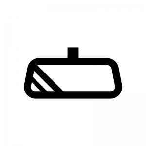 車のルームミラー(バックミラー)の白黒シルエットイラスト02