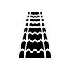 タイヤ痕の白黒シルエットイラスト