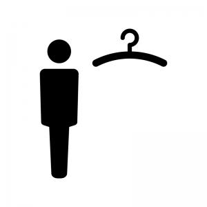 男性用の更衣室の白黒シルエットイラスト