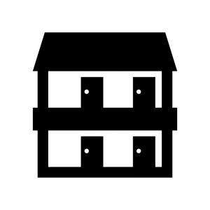 賃貸・アパートの白黒シルエットイラスト