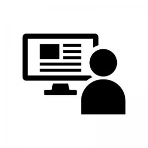 WEBデザイナーの白黒シルエットイラスト02