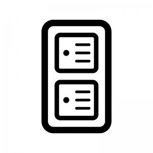 電源スイッチの白黒シルエットイラスト