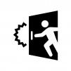 ドアを開ける際に注意の白黒シルエットイラスト