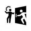 扉の向こうに人がいる場合があるので注意の白黒シルエットイラスト