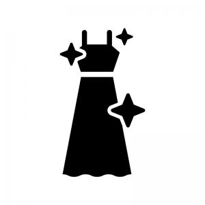 ドレスをクリーニングの白黒シルエットイラスト