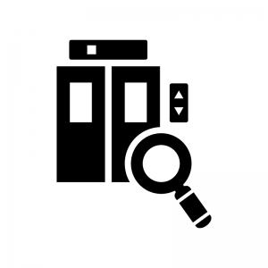 エレベーターの点検の白黒シルエットイラスト