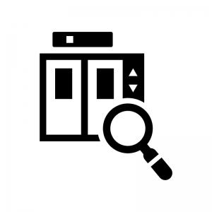エレベーターの点検の白黒シルエットイラスト02
