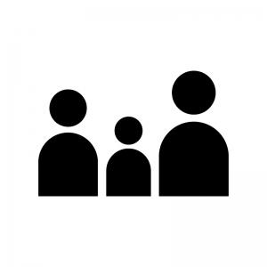 家族の白黒シルエットイラスト