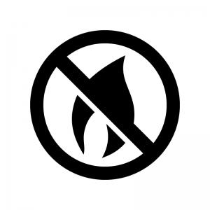 火気注意・火気厳禁の白黒シルエットイラスト02