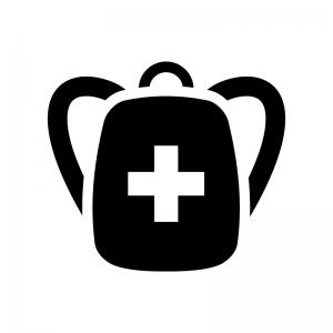 救急・防災バッグの白黒シルエットイラスト