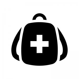 救急・防災バッグの白黒シルエットイラスト02