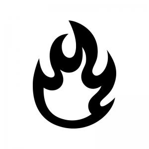 メラメラ燃える炎の白黒シルエットイラスト