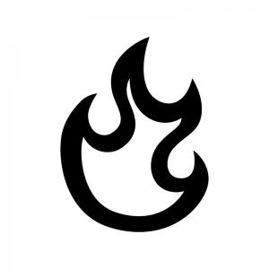 メラメラ燃える炎の白黒シルエットイラスト02