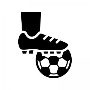 サッカーのキックオフの白黒シルエットイラスト
