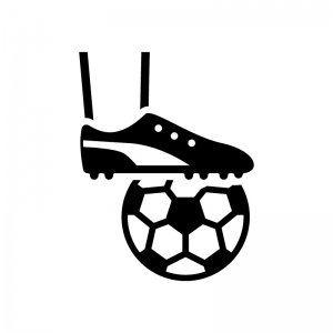 サッカーのキックオフの白黒シルエットイラスト02