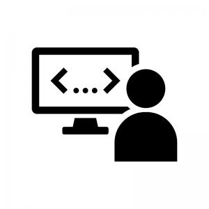 ゲームクリエイター・プログラマーの白黒シルエットイラスト02