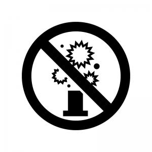 花火禁止の白黒シルエットイラスト02