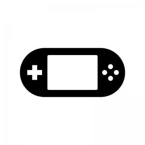 携帯ゲーム機の白黒シルエットイラスト03