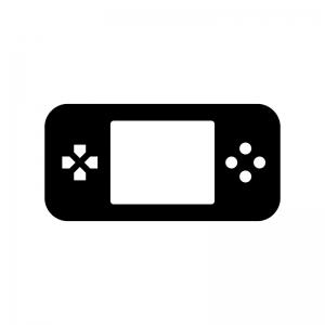 携帯ゲーム機の白黒シルエットイラスト04