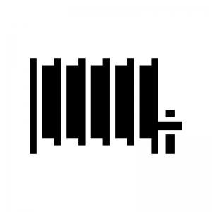 セントラルヒーティングの白黒シルエットイラスト