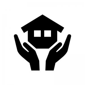 家の保険の白黒シルエットイラスト