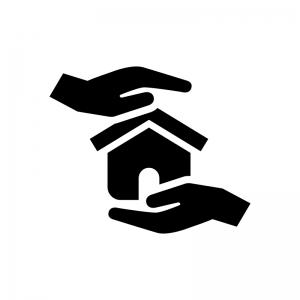 家の保険の白黒シルエットイラスト02