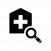 病院を探す・検索の白黒シルエットイラスト