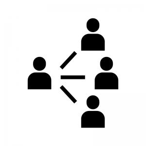 人脈・人のネットワークの白黒シルエットイラスト02