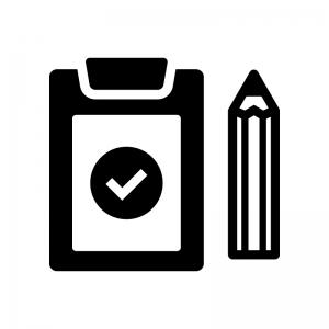 チェック・点検済みの白黒シルエットイラスト03