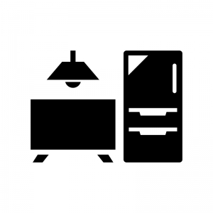 家電・インテリアの白黒シルエットイラスト02