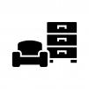家具・インテリアの白黒シルエットイラスト
