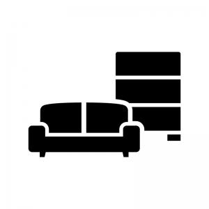 家具・インテリアの白黒シルエットイラスト02