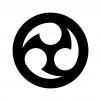 三つ巴(白抜き)の白黒シルエットイラスト