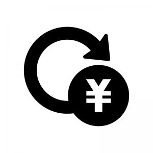 投資・資産運用の白黒シルエットイラスト