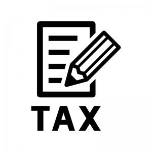 納税・確定申告の白黒シルエットイラスト