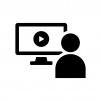 動画クリエイターの白黒シルエットイラスト02
