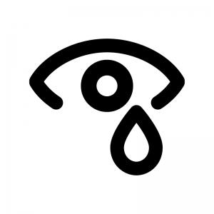 涙の白黒シルエットイラスト02