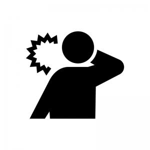 むち打ち(首の痛み)の白黒シルエットイラスト02