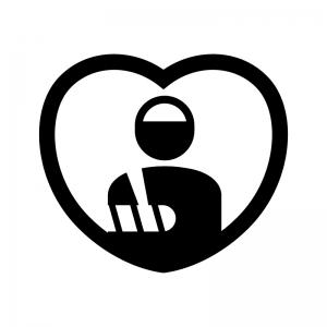 入院保険の白黒シルエットイラスト
