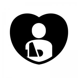 入院保険の白黒シルエットイラスト02