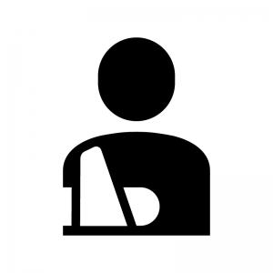 骨折・入院の白黒シルエットイラスト02