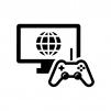 オンラインゲームの白黒シルエットイラスト