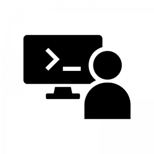 プログラマーの白黒シルエットイラスト02