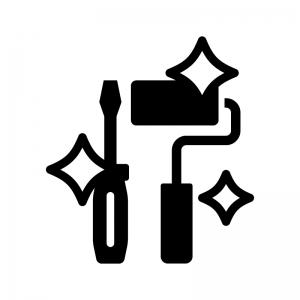 リノベーション・リフォームの白黒シルエットイラスト