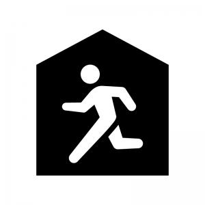 建物へ避難の白黒シルエットイラスト