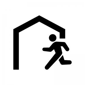 建物へ避難の白黒シルエットイラスト02
